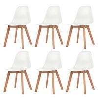 vidaXL Jedálenské stoličky 6 ks, biele, plast