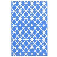 vidaXL Vonkajší koberec modro-biely 120x180 cm PP