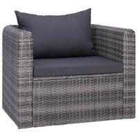 vidaXL Záhradné kreslo so sedákom a vankúšom polyratanové sivé