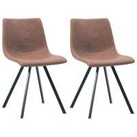 vidaXL Jedálenské stoličky 2 ks, stredne hnedé, umelá koža