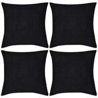 Návliečky na vankúše, 4 ks, bavlna, čierne, 50 x 50 cm