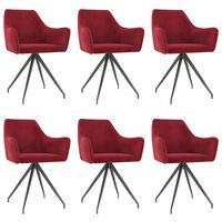 vidaXL Jedálenské stoličky 6 ks, vínovo červené, zamat