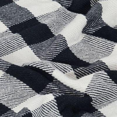 vidaXL Deka, bavlna, kockovaná 160x210 cm, námornícka modrá