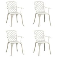 vidaXL Záhradné stoličky 4 ks odlievaný hliník biele