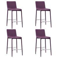 vidaXL Barové stoličky 4 ks, fialové, umelá koža