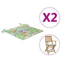 vidaXL Podložky na záhradné stoličky 2 ks vzor listov 40x40x4cm látka