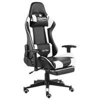 vidaXL Otočná herná stolička s opierkou nôh biela PVC