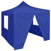 vidaXL Profesionálny skladací párty stan+4 steny 2x2 m, oceľ, modrý