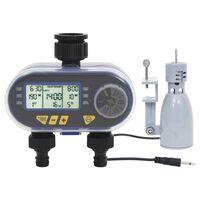 vidaXL Digitálny časovač zavlažovania s dvojitým výstupom a dažďovým snímačom