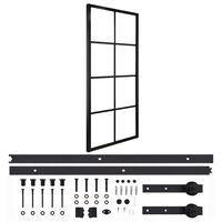 vidaXL Posuvné dvere hliník a ESG sklo s príslušenstvom 76x205 cm