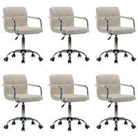 vidaXL Otočné jedálenské stoličky 6 ks, krémové, látka