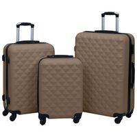 vidaXL Súprava cestovných kufrov s tvrdým krytom 3 ks hnedá ABS