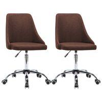 vidaXL Kancelárske stoličky na kolieskach 2 ks hnedé látkové