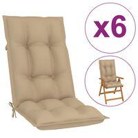 vidaXL Podložky na záhradné stoličky 6 ks, béžové 120x50x7 cm