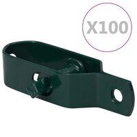 vidaXL Napináky na plot 100 ks, 100 mm, oceľ, zelené