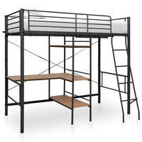 vidaXL Poschodová posteľ s rámom stola sivá 90x200 cm kovová