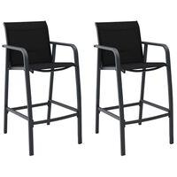 vidaXL Záhradné barové stoličky 2 ks, čierne, textilén