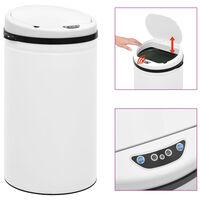 vidaXL Automatický odpadkový kôš, senzor 50 l, uhlíková oceľ, biely