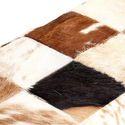 vidaXL Lavica hnedá 160 cm pravá kozia koža patchwork