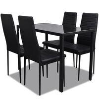 vidaXL 5-dielna súprava s jedálenským stolom, čierna
