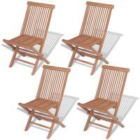 vidaXL Skladacie záhradné stoličky 4 ks, tíkový masív