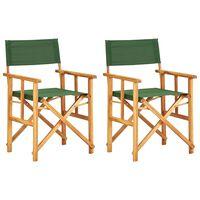 vidaXL Režisérske stoličky 2 ks, akáciový masív, zelené