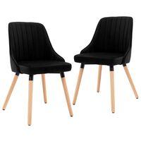 vidaXL Jedálenské stoličky 2 ks čierne zamat