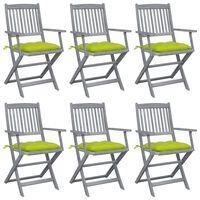 vidaXL Skladacie vonkajšie stoličky s podložkami 6 ks akáciový masív