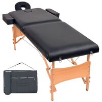 vidaXL 2-dielny sklápací masérsky stôl,10 cm hrubý, čierny