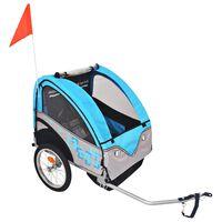 vidaXL Detský cyklovozík, šedo-modrý, 30 kg