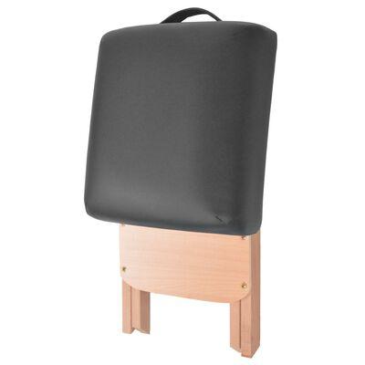vidaXL Sklápacia masérska stolička s 12 cm hrubým sedadlom a 2 podložkami čierna