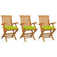 vidaXL Záhradné stoličky s jasnozelenými podložkami 3 ks tíkový masív