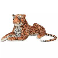 vidaXL Hračka plyšový leopard, hnedý, XXL
