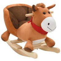 vidaXL Hojdacie zvieratko, kôň s operadlom plyšové 60x32x50 cm, hnedé