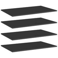vidaXL Prídavné police 4 ks, lesklé čierne 80x50x1,5 cm, drevotrieska