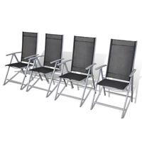 vidaXL Skladacie záhradné stoličky 4 ks hliníkové
