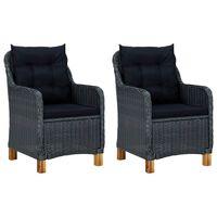 vidaXL Záhradné stoličky s podložkami 2 ks, polyratan, tmavosivé