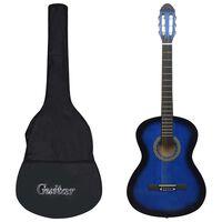 """vidaXL 12-dielna klasická gitarová sada pre začiatočníkov modrá 4/4 39"""""""