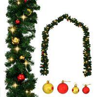 vidaXL Vianočná girlanda s ozdobami a LED svetielkami 5 m