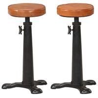 vidaXL Barové stoličky 2 ks hnedé pravá koža a liatina