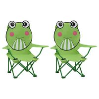 vidaXL Detské záhradné stoličky 2 ks zelené látkové