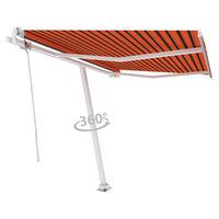 vidaXL Samostatne stojaca automatická markíza 300x250 cm oranžovo-hnedá