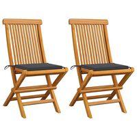vidaXL Záhradné stoličky, antracitové podložky 2 ks, tíkový masív
