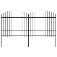 vidaXL Záhradný plot s hrotmi, oceľ (1,5-1,75)x3,4 m, čierny