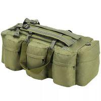 vidaXL Športová taška 3 v 1, army štýl 120 l, olivovo zelená