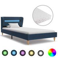 vidaXL Posteľ s LED a matracom, modrá, látka 90x200 cm