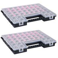 vidaXL Boxy na súčiastky s nastaviteľnými rozdeľovačmi 2 ks 385x283x50 mm plast