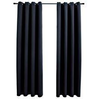 vidaXL Zatemňovacie závesy s kovovými očkami 2 ks, čierne 140x175 cm