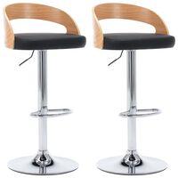 vidaXL Barové stoličky 2 ks, čierne, umelá koža a ohýbané drevo