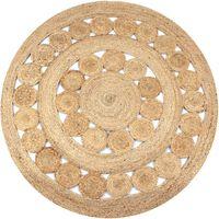 vidaXL Pletený okrúhly jutový koberček s dizajnom, 150 cm
